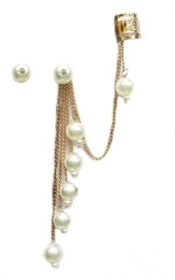 Gurjari Peralmoti Brass Cuff Earring