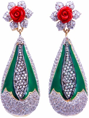 YUVEN Green Enamel With AD Zircon Brass, Alloy Drop Earring