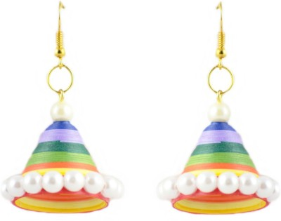 Trendmania Multi colored pearl paper quilled jhumki earrings Paper Dangle Earring