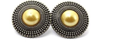 Zidox Yellow Coloured Bead Alloy Stud Earring