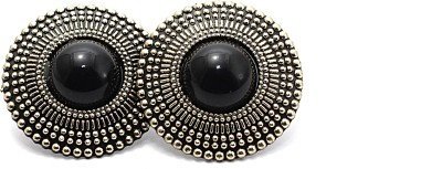 Zidox Black Coloured Bead Silver Alloy Stud Earring