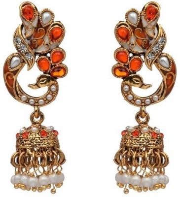 ACW Peacock Jhumka with Orange Stones and Pearls Metal Jhumki Earring