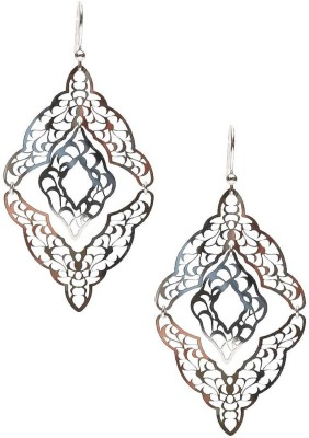 LeCalla Geometric Delicate Carved Laser Cut Sterling Silver Dangle Earring