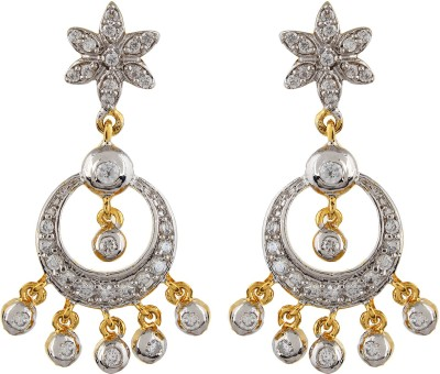 Moda Stella Circle Cubic Zirconia, Zircon Brass Drop Earring