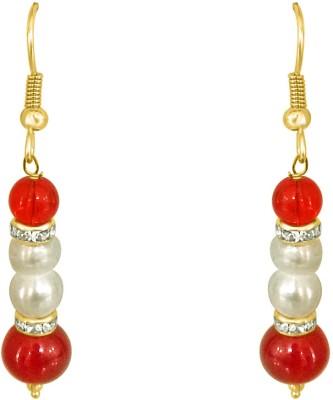 Surat Diamond Real Pearl and Red Stone Pearl Metal Dangle Earring