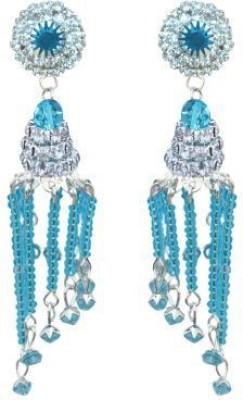 ACW White and Light Blue Stones Danglers Alloy Jhumki Earring