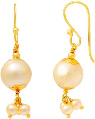 Ijuels Princess Golden Charm Delight Pearl Brass Drop Earring