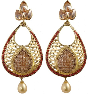Hotpiper Classic Red Cubic Zirconia, Pearl Alloy Chandelier Earring