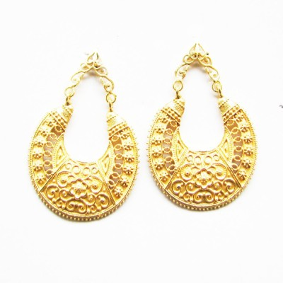Gharaz semi precious Gold plated Brass Hoop Earring