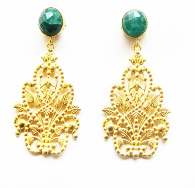 Gharaz semi precious Gold plated Emerald Brass Dangle Earring