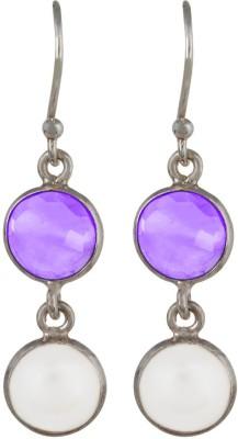 Aarohee Purple sparkle Amethyst, Pearl Sterling Silver Dangle Earring