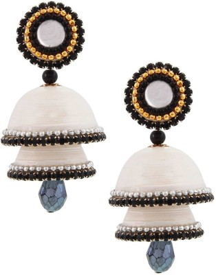 Jaipur Raga Fancy White Handcrafted Double Jhumka Brass Jhumki Earring
