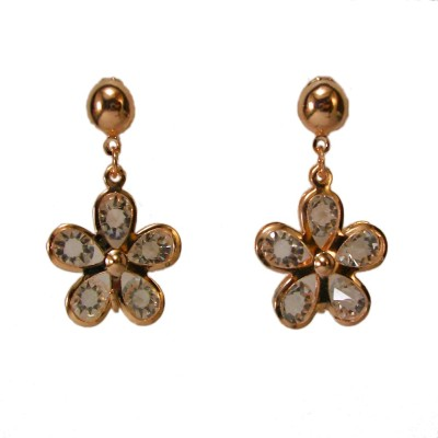Bandish Rose Gold toned Stone studded Floral Metal Drop Earring