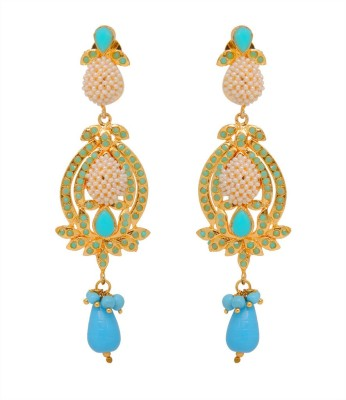 Jaipur Mart Aqua Colour & Small Beads Work Paan Alloy Drop Earring