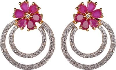 Gazal Jewels Flower Zircon Copper Chandelier Earring