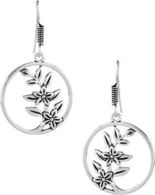 Factorywala Pair Of Impressive Round Leafy Flower Alloy Dangle Earring