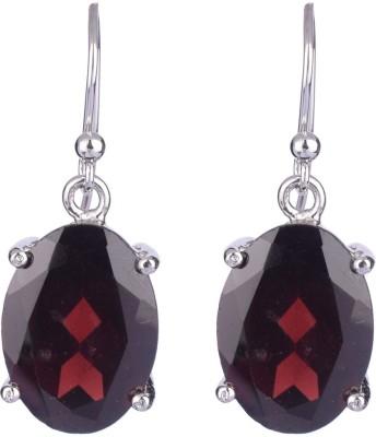 Krishna Pearls & Jewellers Princess Delight Garnet Silver Dangle Earring