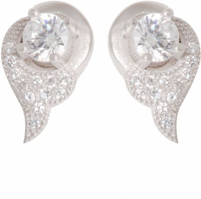 TUAN curved shaped Cubic Zirconia Sterling Silver Stud Earring