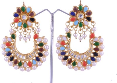 Khandelwal Jewels Fashion Jewellery Pearl Alloy Chandbali Earring