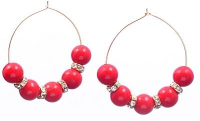 Rivory Bros Trendy Red Metal Hoop Earring