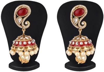 Jewels Guru Diva Style Cubic Zirconia Copper Jhumki Earring