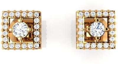 Arkina Diamonds Fourthe Square Yellow Gold 18kt Diamond Stud Earring