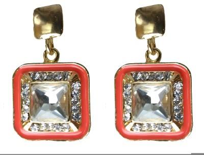 Modish Look Orange Square Traditional Brass Drop Earring