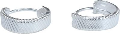 JHL Silver Cut Design Bali Silver Huggie Earring