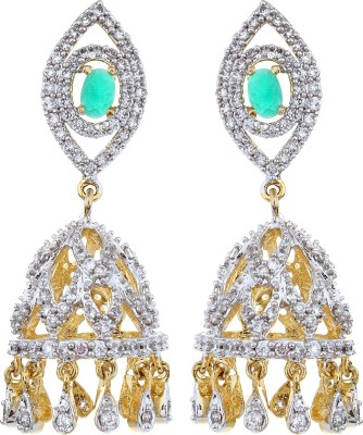 Moda Stella Green Stone Jhumki Earrings Cubic Zirconia, Zircon Brass Jhumki Earring