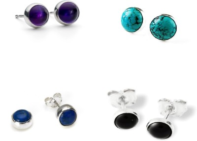 Albeli Impex Princess Design Turquoise, Lapis Lazuli, Onyx, Amethyst Sterling Silver Earring Set