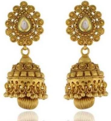 Happyshoppi Flower Designed Brass, Copper Jhumki Earring