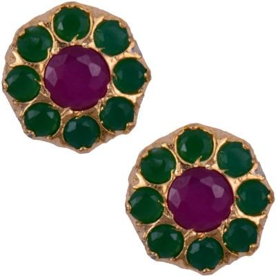 Mahaveer Pearls Pink & Green Fashionable Brass Stud Earring