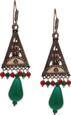 SB Fashions silver earring with maroon and green beads Brass Jhumki Earring, Huggie Earring