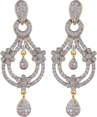 Moda Stella Three Flower Brass Chandelier Earring
