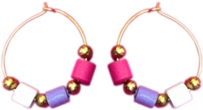 Vaishali's Quilling Jewellery Pink white and Purple combination Paper Hoop Earring