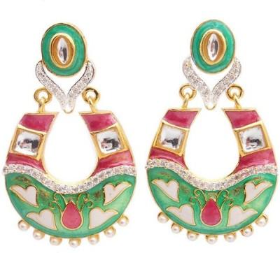 MK Jewellers TRADITIONAL CZ EARING WITH MEENA AND KUNDAN Metal Dangle Earring