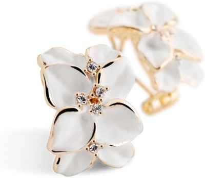 iSweven Crystal Gardenia Flower Ear With Ear Buckle Girls Fashion Jewelry 1.9cmx1.5cm Alloy Stud Earring
