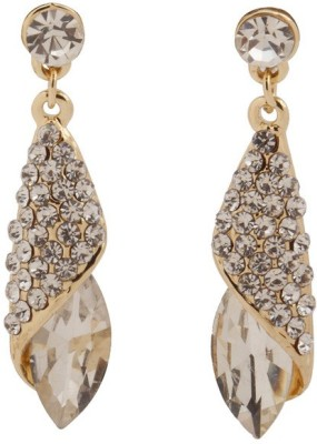 RIANZ Latest Elegant Gold Plated White Color Stone and Crystals Alloy, Crystal Dangle Earring
