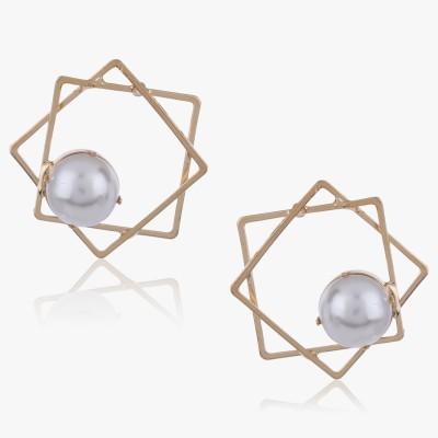 Shamoda Trendy Gold Square & Pearl Metal Stud Earring