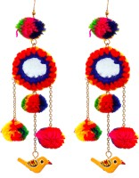 gypsyJ Multicolored Birdie Danglers Metal, Fabric Drop Earring