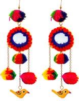gypsyJ Multicolored Birdie Danglers Metal, Fabric Drop Earring