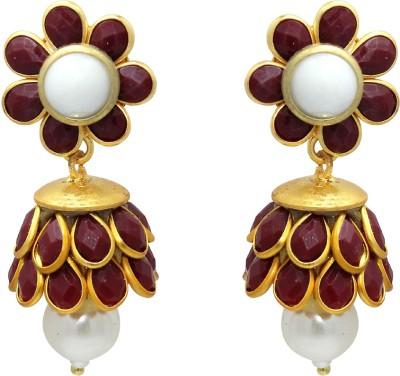 Ranvijay Trendy Red Beads Alloy Drop Earring