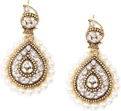 Giftmania Pcw Sparkle Pearl, Crystal Brass Jhumki Earring