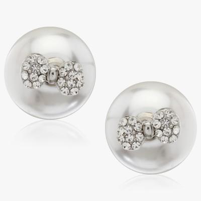 Shamoda Fashionable Pearl With Stone Bow Metal Stud Earring