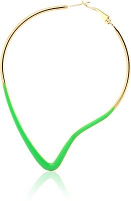 Just Women Neon Green Mango Shaped Metal, Alloy Hoop Earring