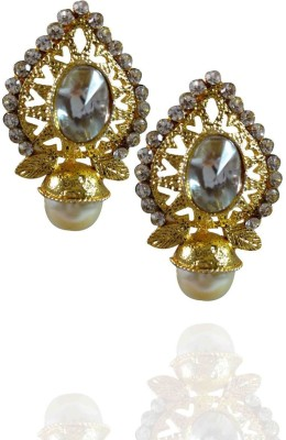 AsiaCraft Gold Plated Stones Pearls Metal Stud Earring