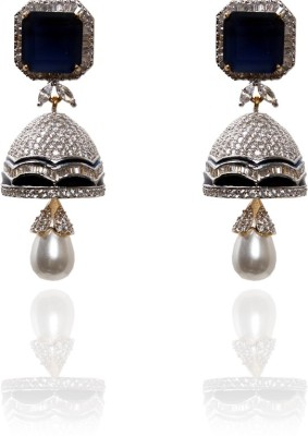 Hannahs Collections Double Sparkle Steel Jhumki Earring