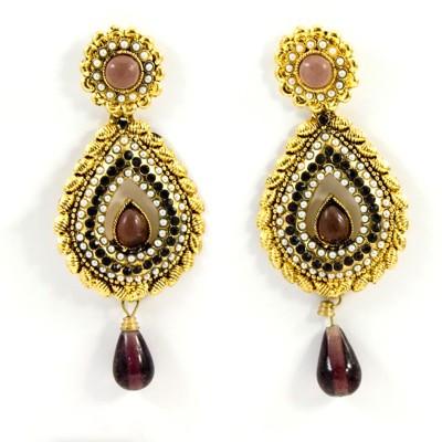 Gehnewala Connector Stones N Pearls Brass Drop Earring