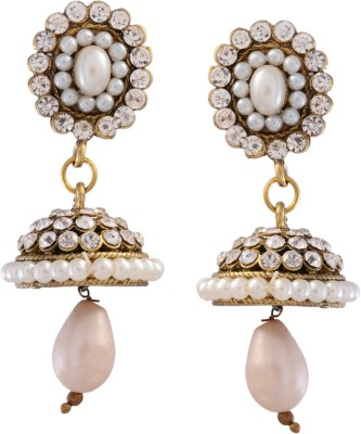 Ark Hanging Pearl Crystal Alloy Jhumki Earring