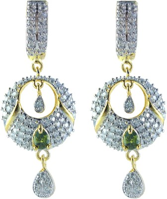YUVEN Green-Color With AD Zircon Brass, Alloy Drop Earring